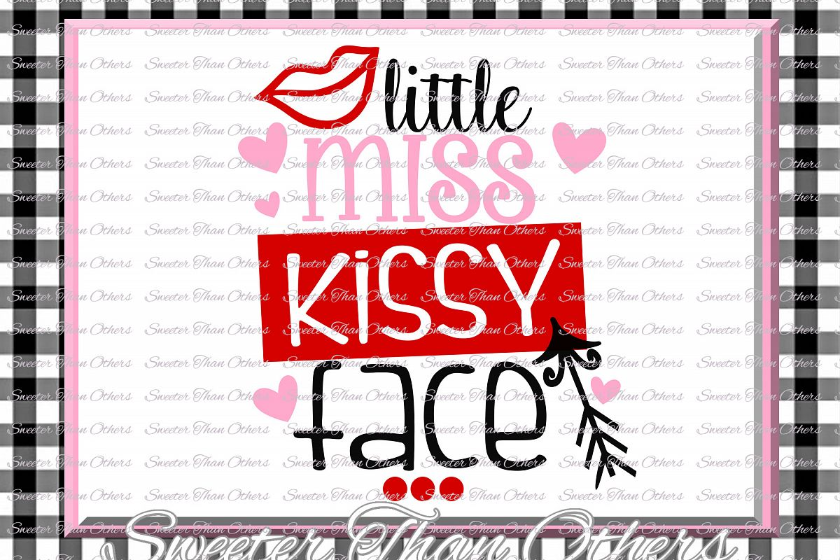Little Miss Kissy Face Svg Silhouette Valentines svg example image 1