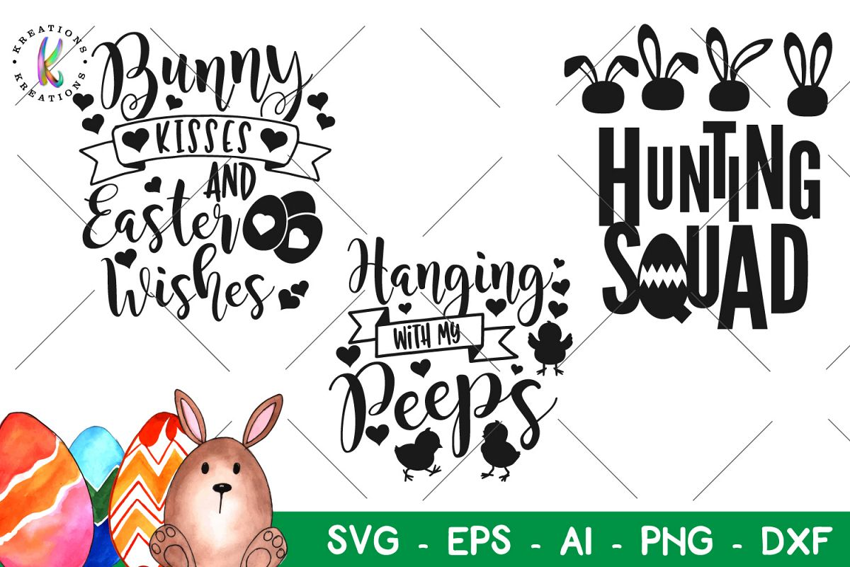 Easter bundle svg Happy Easter svg Hunting Squad Peeps Bunny example image 1
