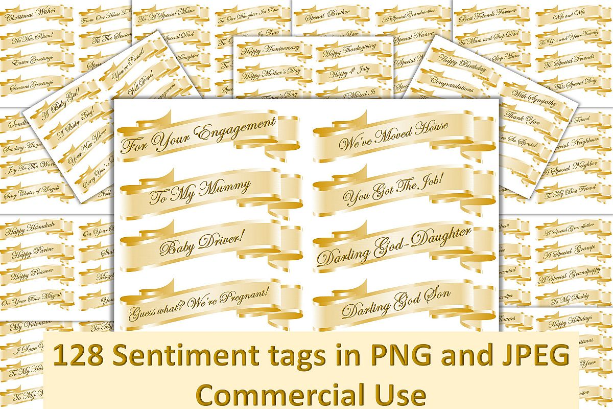 128 Sentiment tags JPEG Collage sheets and PNGs. CU example image 1