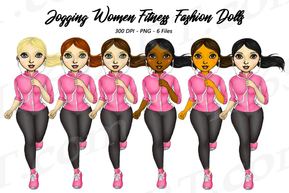 Jogging Women Running Girls Clipart Fashion Illustrations example image 1