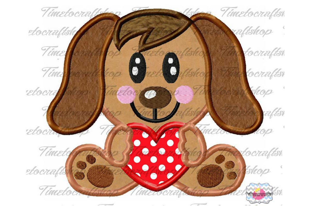 Valentine Puppy Dog Heart Me Embroidery Applique Design