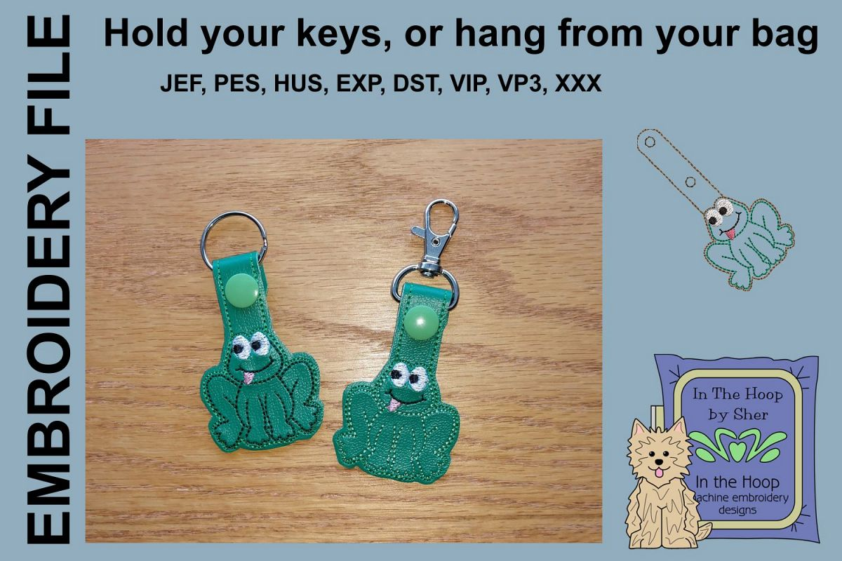 ITH Happy Frog Key Fob - Embroidery Design example image 1