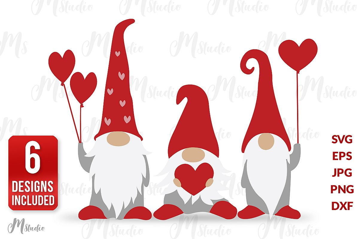 Valentine Gnomes Svg. example image 1