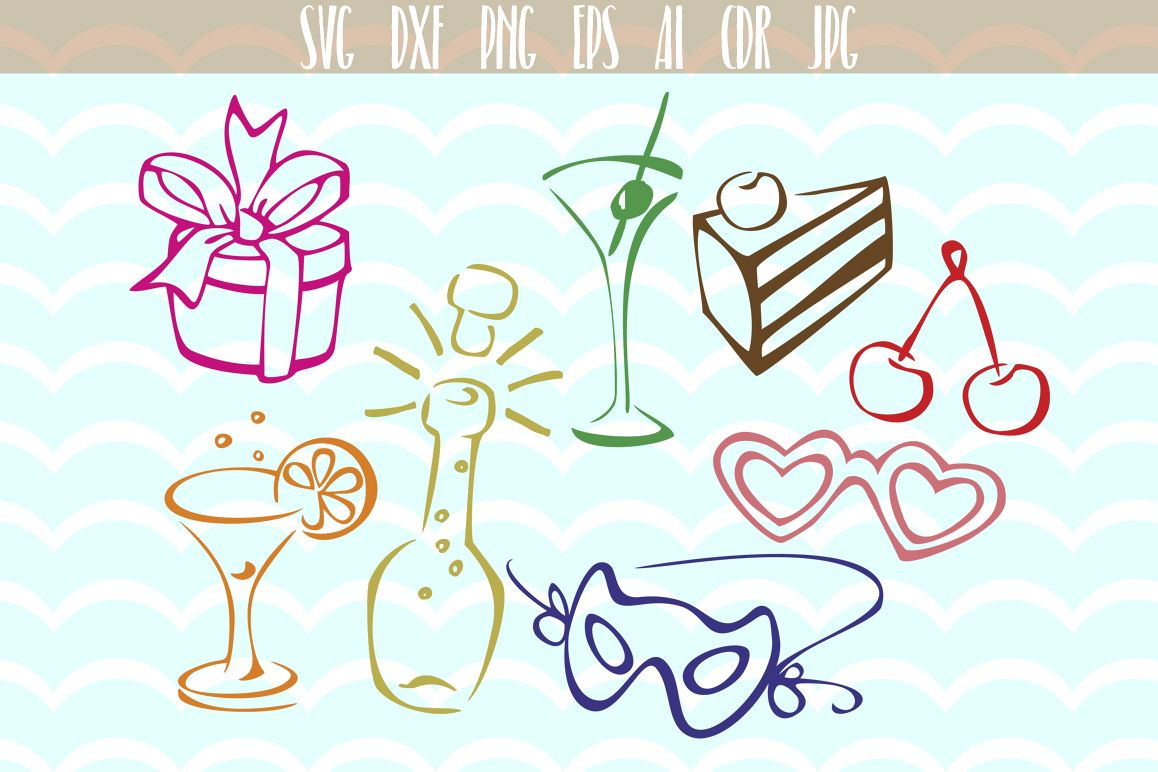 Party SVG set Birthday party SVG, Party Svg cutting files, Vector Party designs Bundle , Silhouette , Cricut, Cameo. example image 1