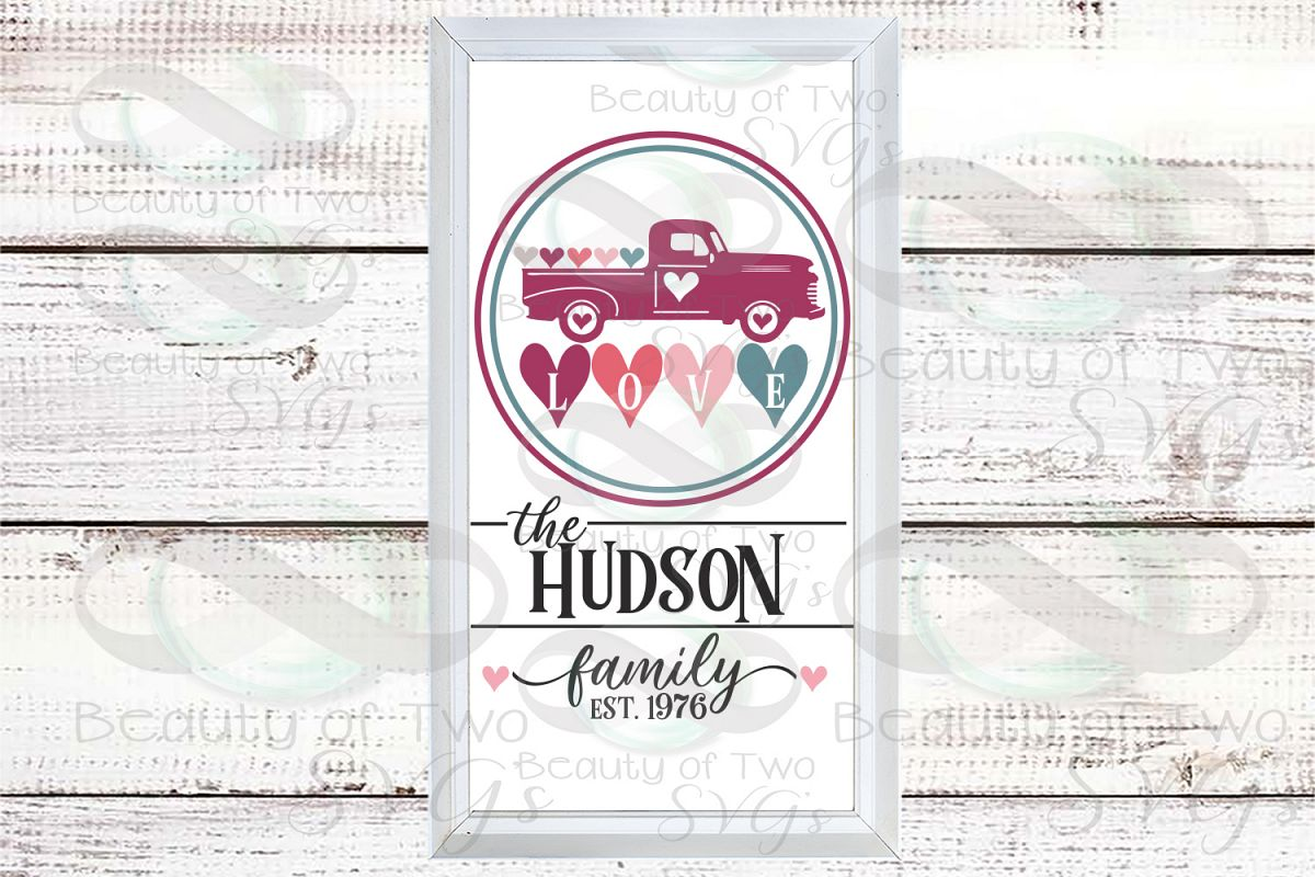 Valentines Vintage Truck Last Name Customize svg sign design example image 1