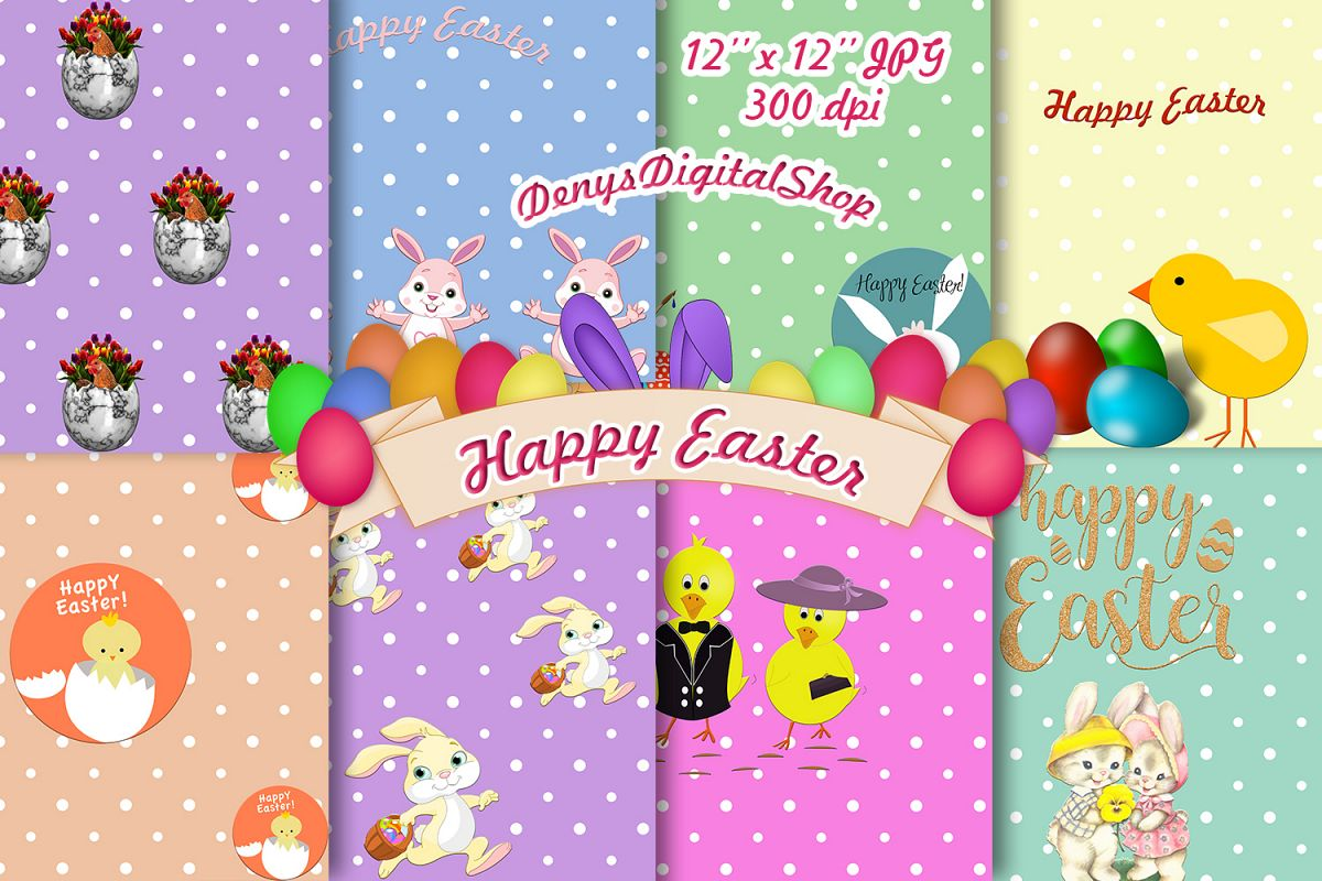 Easter DIGITAL PAPERS, Easter Scrapbook, Happy Easter, 50OFF example image 1