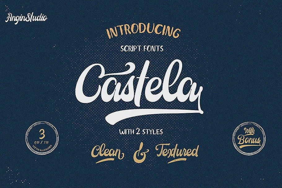 Castela 3 fonts with extras example image 1