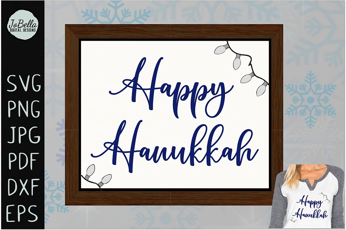Lights And Happy Hanukkah SVG, Printable and Sublimation PNG example image 1