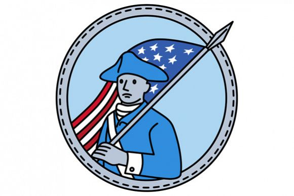 American Revolutionary Soldier Flag Circle Mono Line example image 1