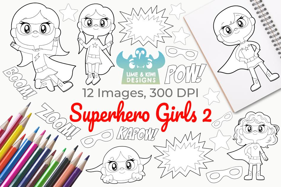Superhero Girls 2 Digital Stamps example image 1