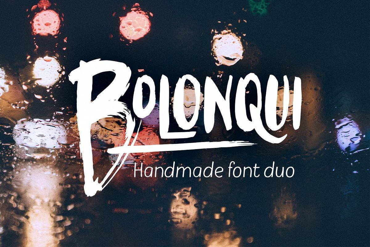 Bolonqui - handmade font duo example image 1