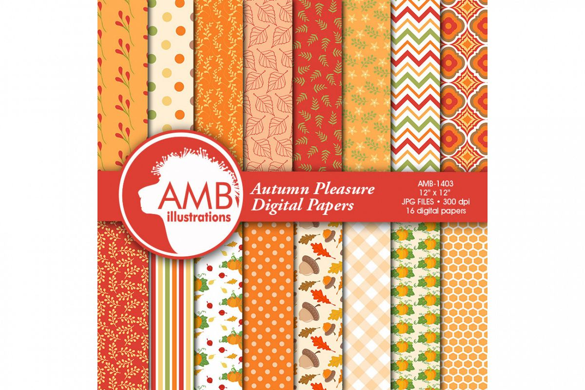 Autumn Digital Papers, Autumn Leaves Paper, Harvest Backgrounds, Pumpkin papers, Fall digital papers, Commercial Use, AMB-1403 example image 1