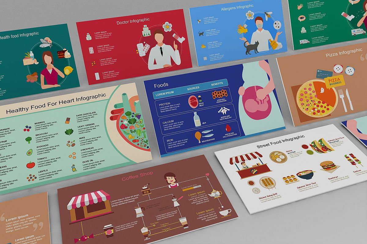 Mega Food PowerPoint Infographic Set example image 1