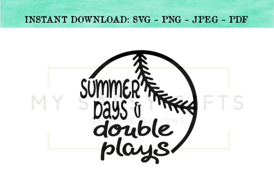 6425e1eabba Summer Days And Double Plays Baseball SVG example image 1