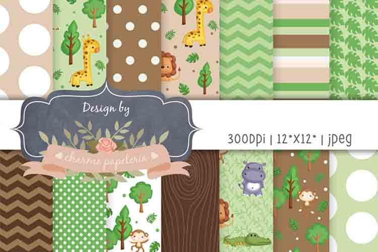 Safari Digital paper, jungle background, baby shower paper example image 1