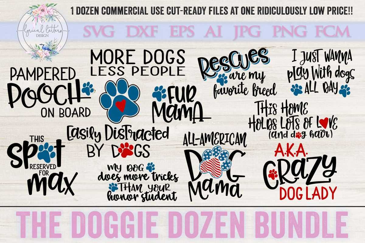 The Doggie Dozen Bundle of 12 Dog SVG Cut Files example image 1