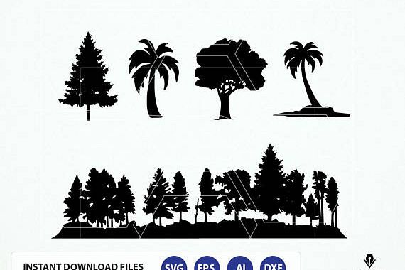 Forest SVG File. Trees Svg. Trees Silhouette - Fine Tree, Palm Tree Vector. Forest Silhouette Dxf, Eps  example image 1