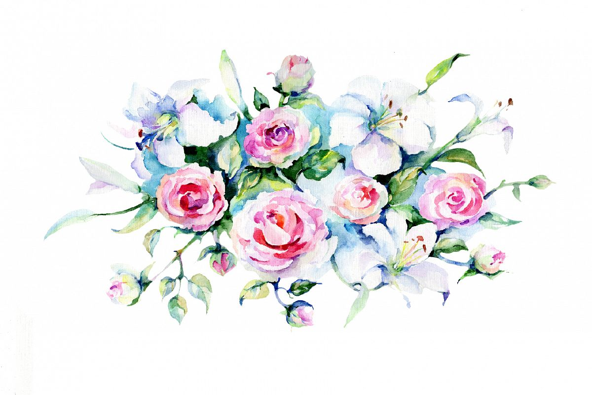 Festive bouquet of flowers png watercolor set festive bouquet of flowers png watercolor set example image 1 izmirmasajfo