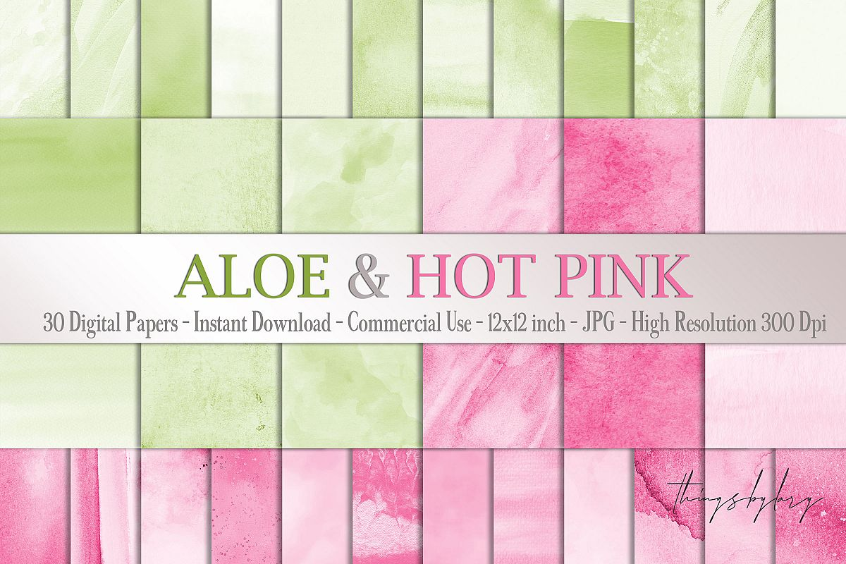 30 Ombre Aloe & Hot Pink Spring Watercolor Digital Papers example image 1
