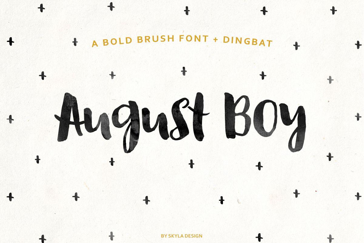 August Boy - Modern, bold, brush font + dingbat clipart example image 1