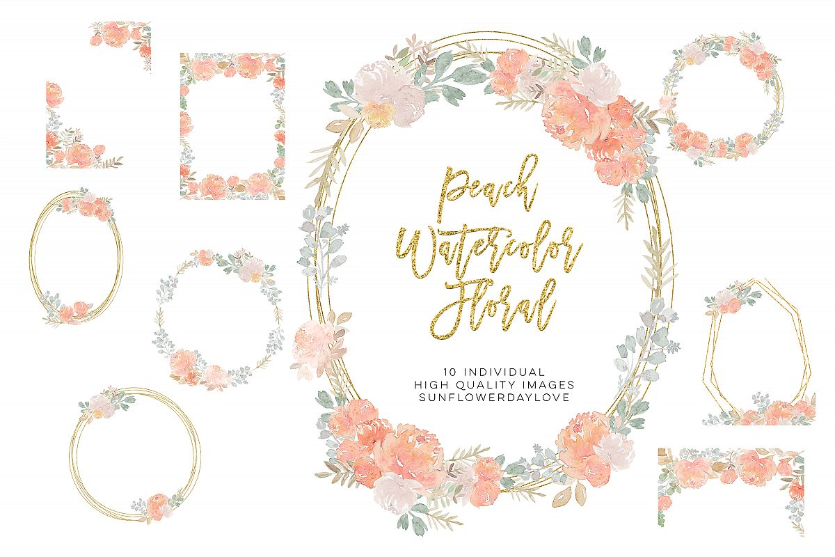 fall floral clipart, Dusty Rose Pink Peach Watercolor Floral example image 1