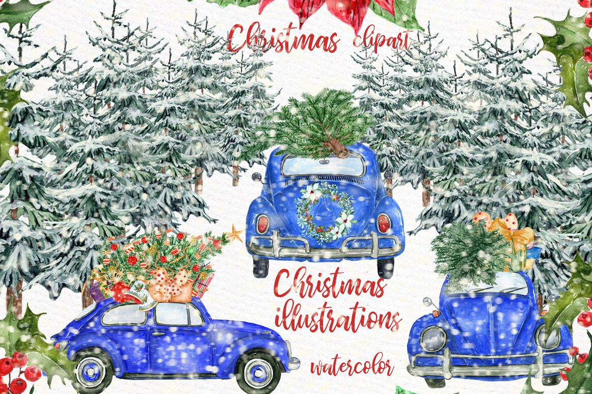 Watercolor Christmas Cars,Christmas Wreaths clipart Winter example image 1