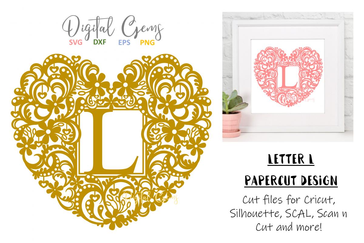 Letter L paper cut design. SVG / DXF / EPS / PNG files example image 1