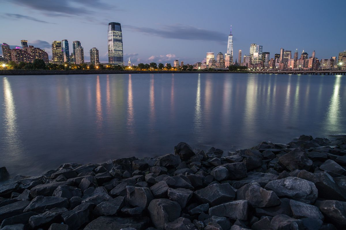 Downtown Manhattan and jersey city during twilight	 example image 1