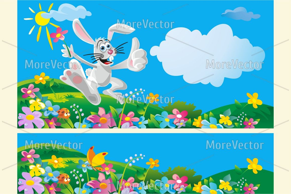 Happy bunny throwing flowers. Summer sunny landscape.  example image 1