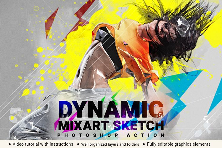 Dynamic MixArt Sketch Photoshop Action example image 1