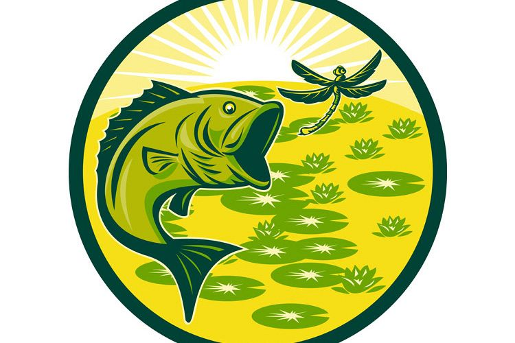 largemouth bass jumping with dragonfly example image 1