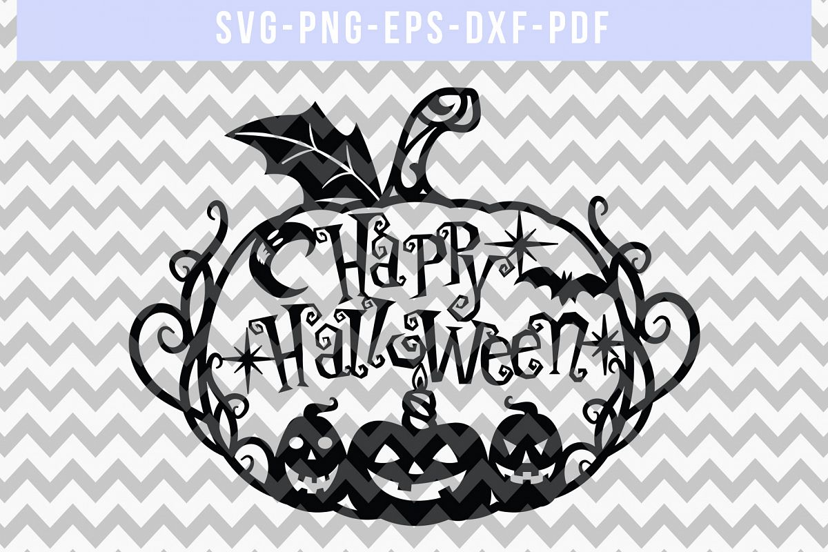 Halloween SVG Cut File, Pumpkin Papercut Template, DXF PDF