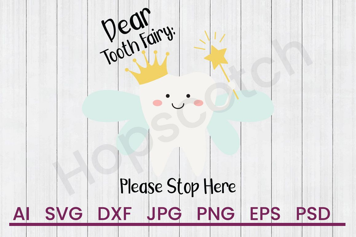 Tooth Fairy SVG, Letter SVG, DXF File, Cuttatable File example image 1