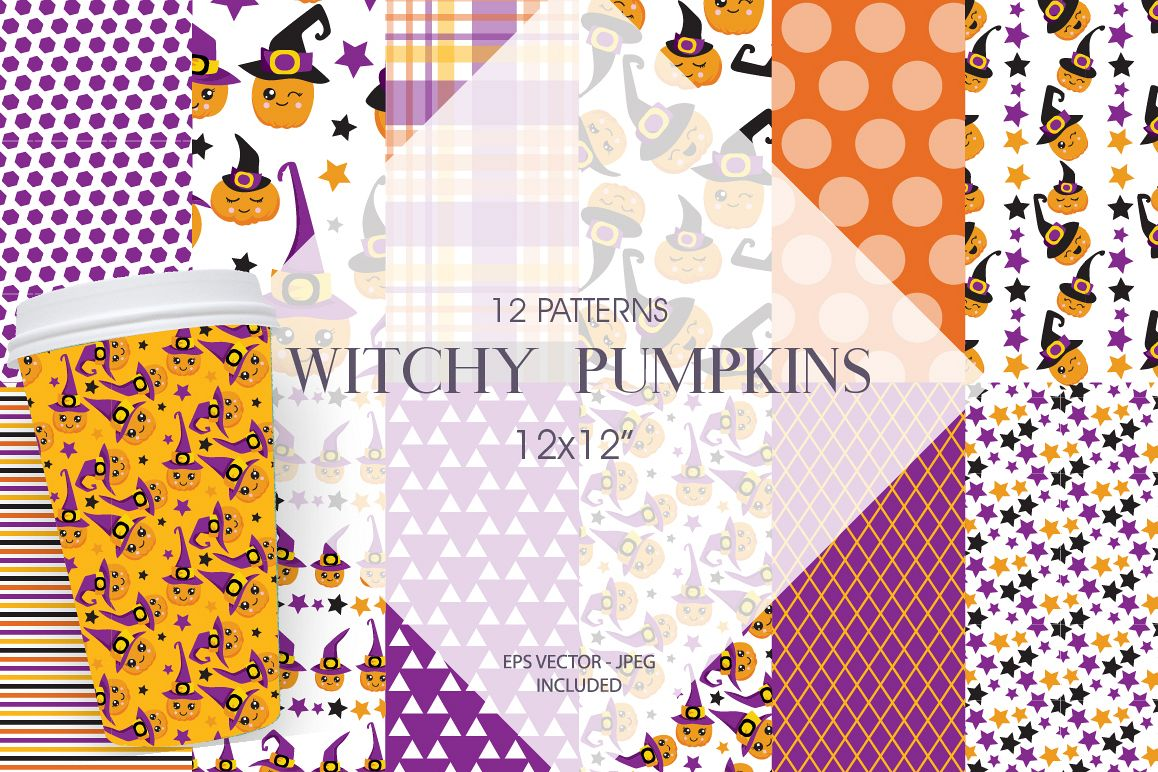 Witchy Halloween Pumpkins Pattern collection, vector ai, eps example image 1