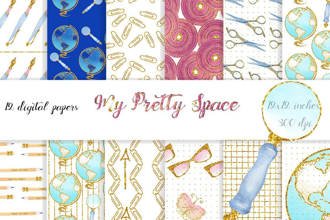 Watercolor with glitter Office stationary Papers - Digital Paper Pack - Instant Download. 12x12 inches. Background papers. School,Scrapbook example image 1