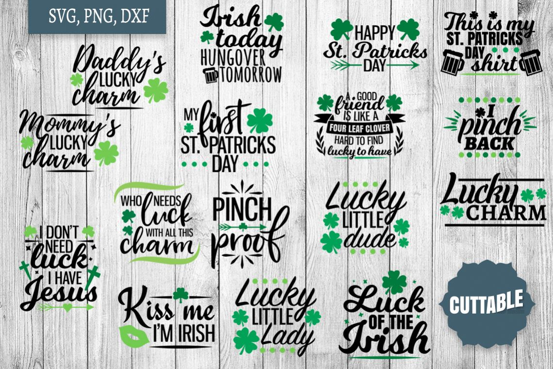 St Patrick's day SVG bundle, St Paddy's day cut file quotes example image 1