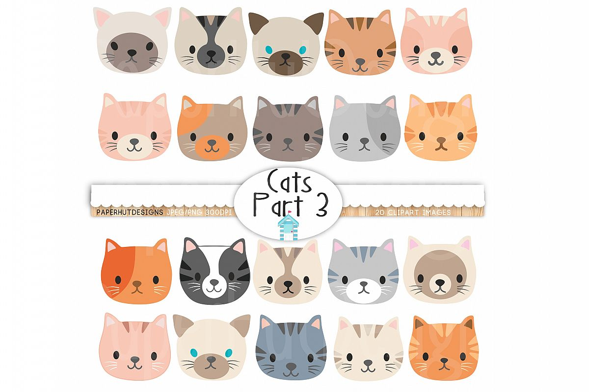 Cat Faces Clipart-Cute Kitten Faces Clipart example image 1