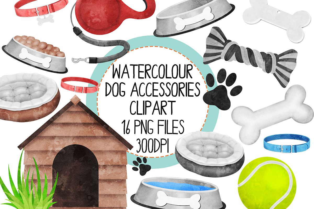 Watercolor Dog AccessoriesClipart Set example image 1