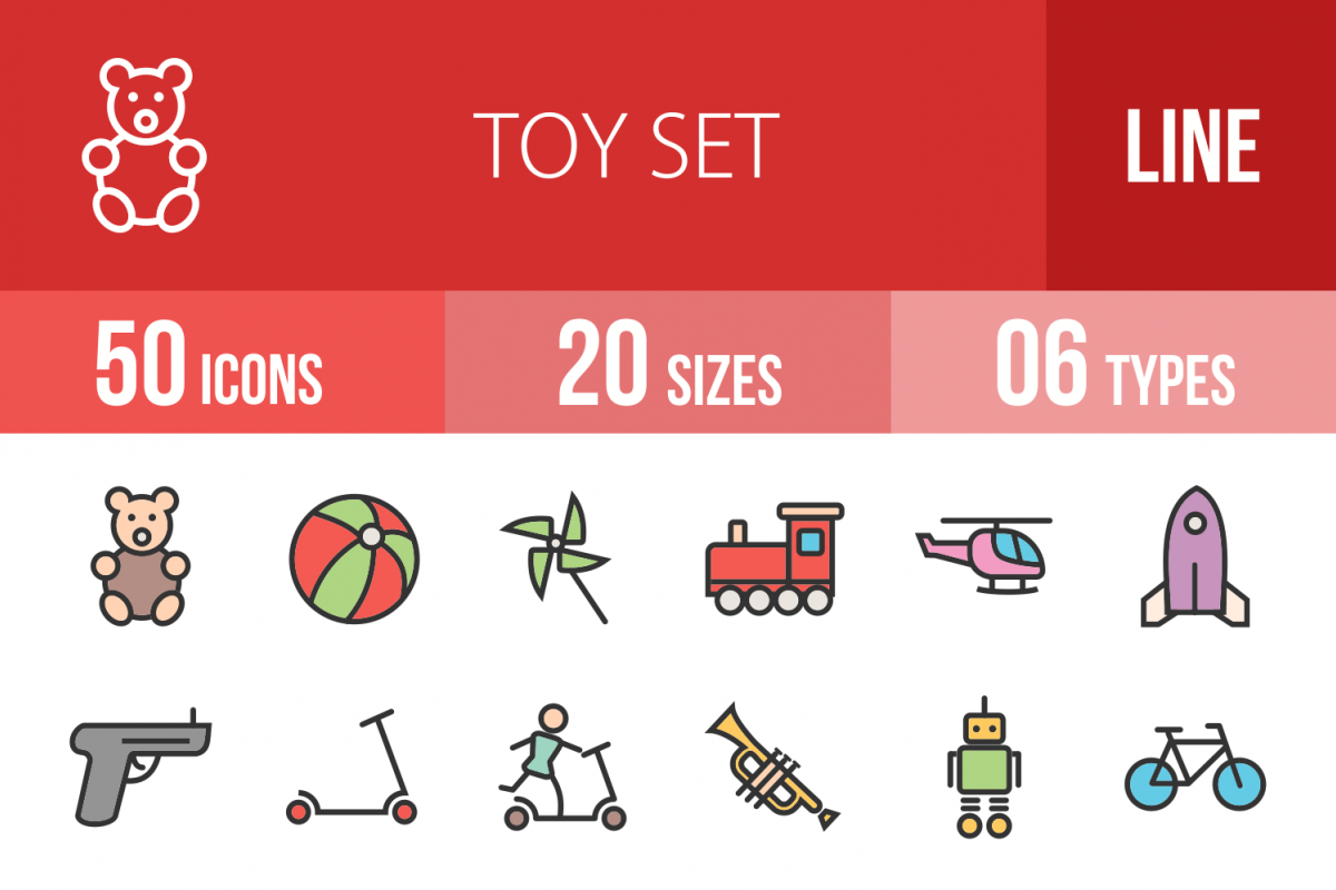 50 Toy Set Linear Multicolor Icons example image 1
