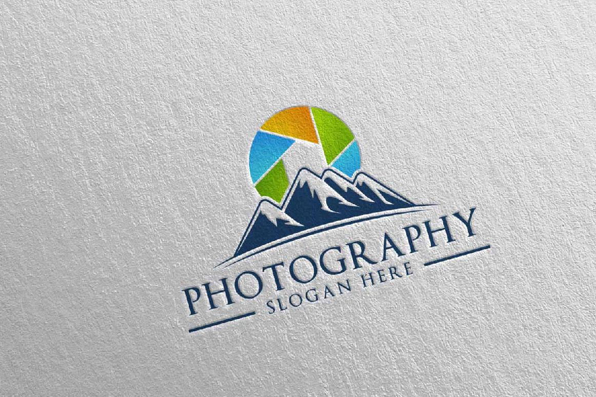 Abstract Mountain Camera Photography Logo 12 example image 1