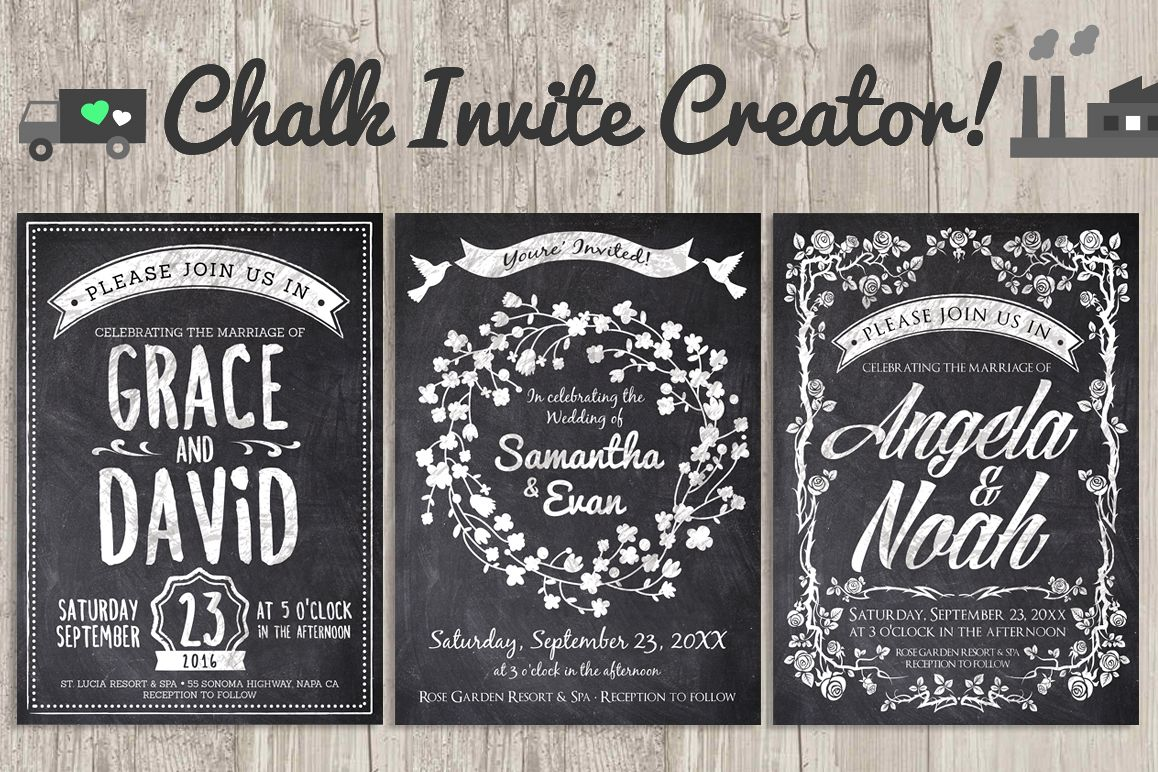 chalk invite creator bundle wedding save date vintage event