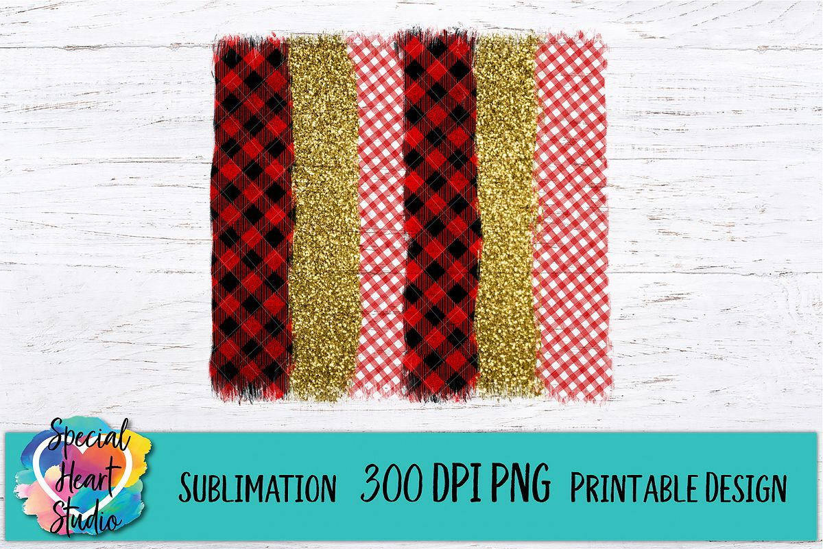 Christmas Sublimation - Brush Strokes PNG - Plaid Glitter example image 1