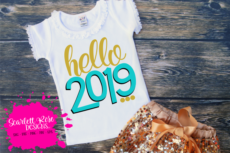 Hello 2019 - New Year's SVG example image 1