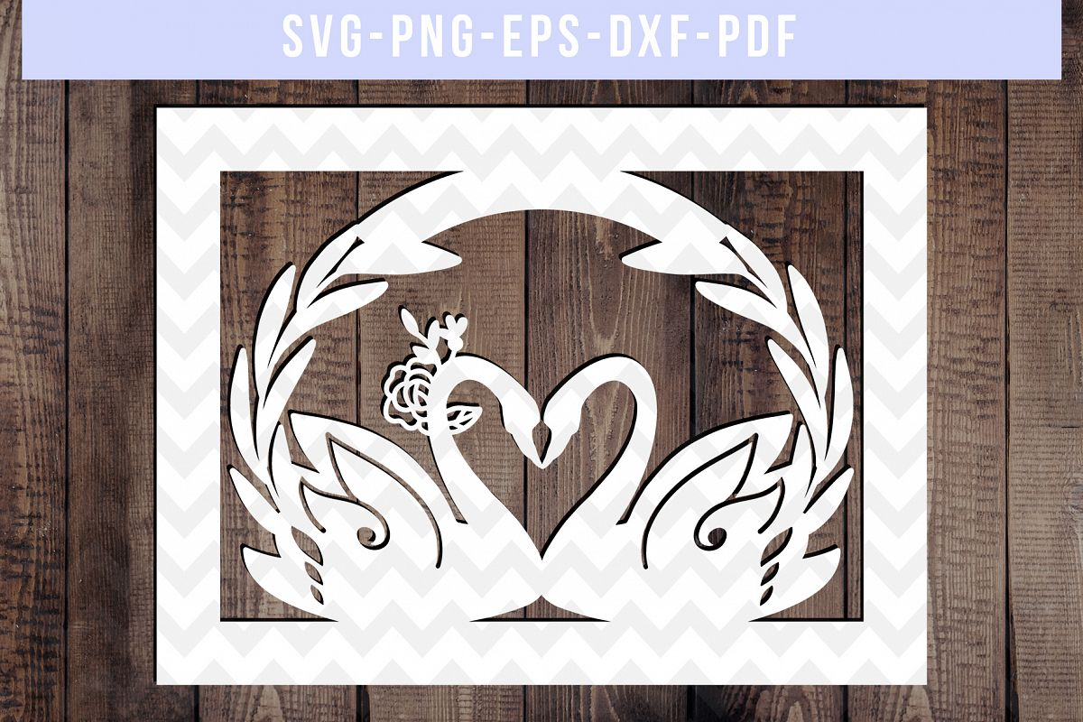 Wedding Swan Frame Papercut Template, Couple SVG, DXF, PDF example image 1