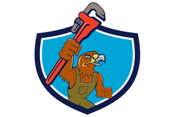 Hawk Plumber Wrench Crest Cartoon example image 1