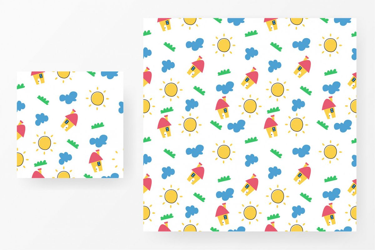 Seamless pattern house, grass, cloud and sun example image 1
