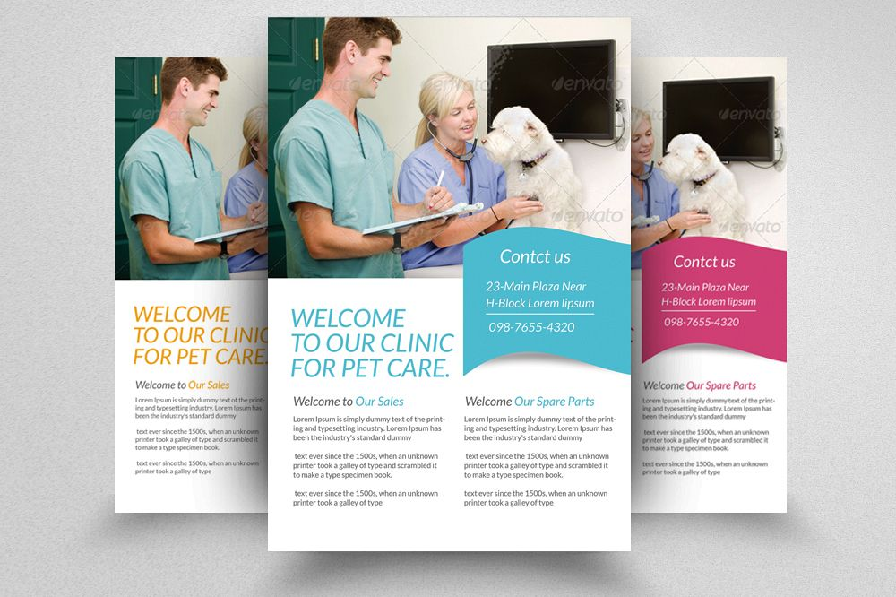 pet care clinic flyer template example image 1 - Clinic Brochure Template