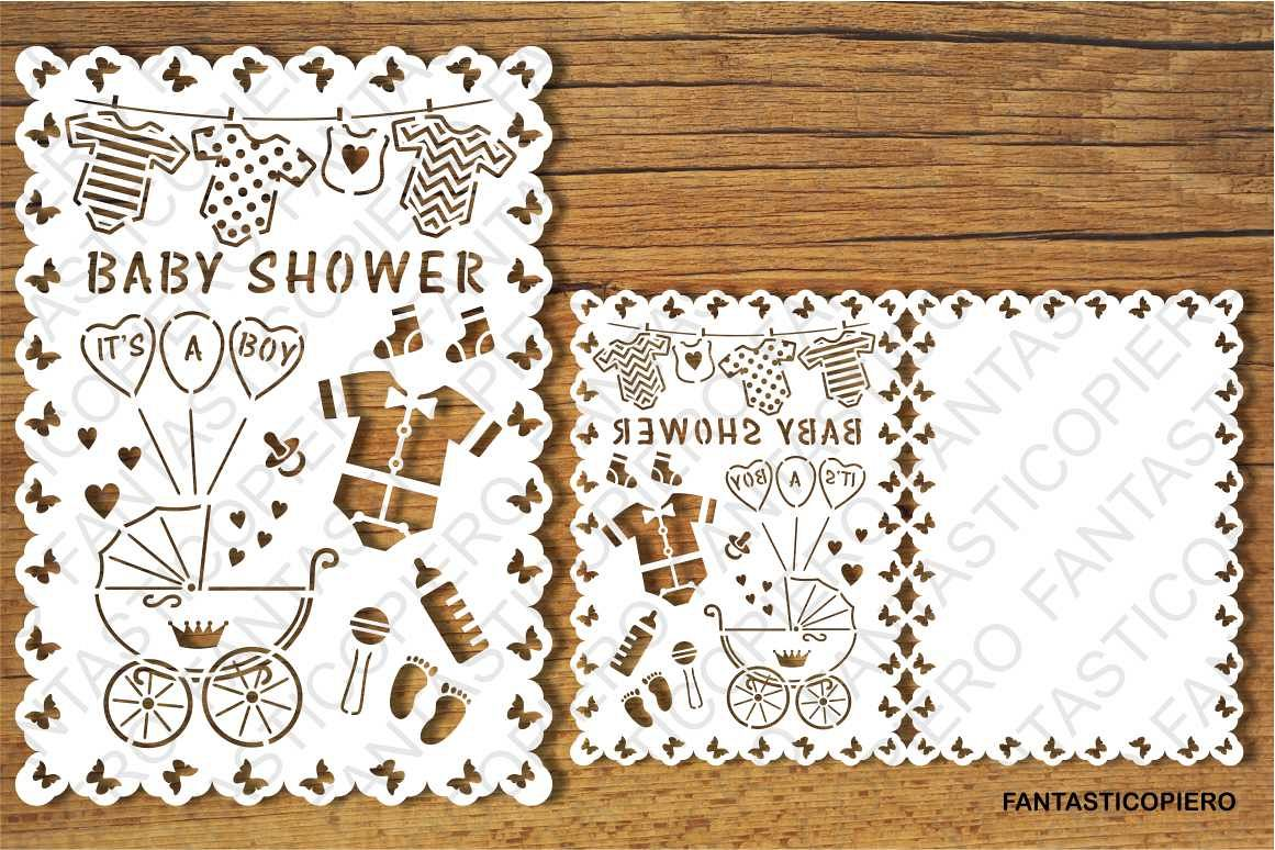 Baby Shower Boy card SVG files for Silhouette and Cricut.
