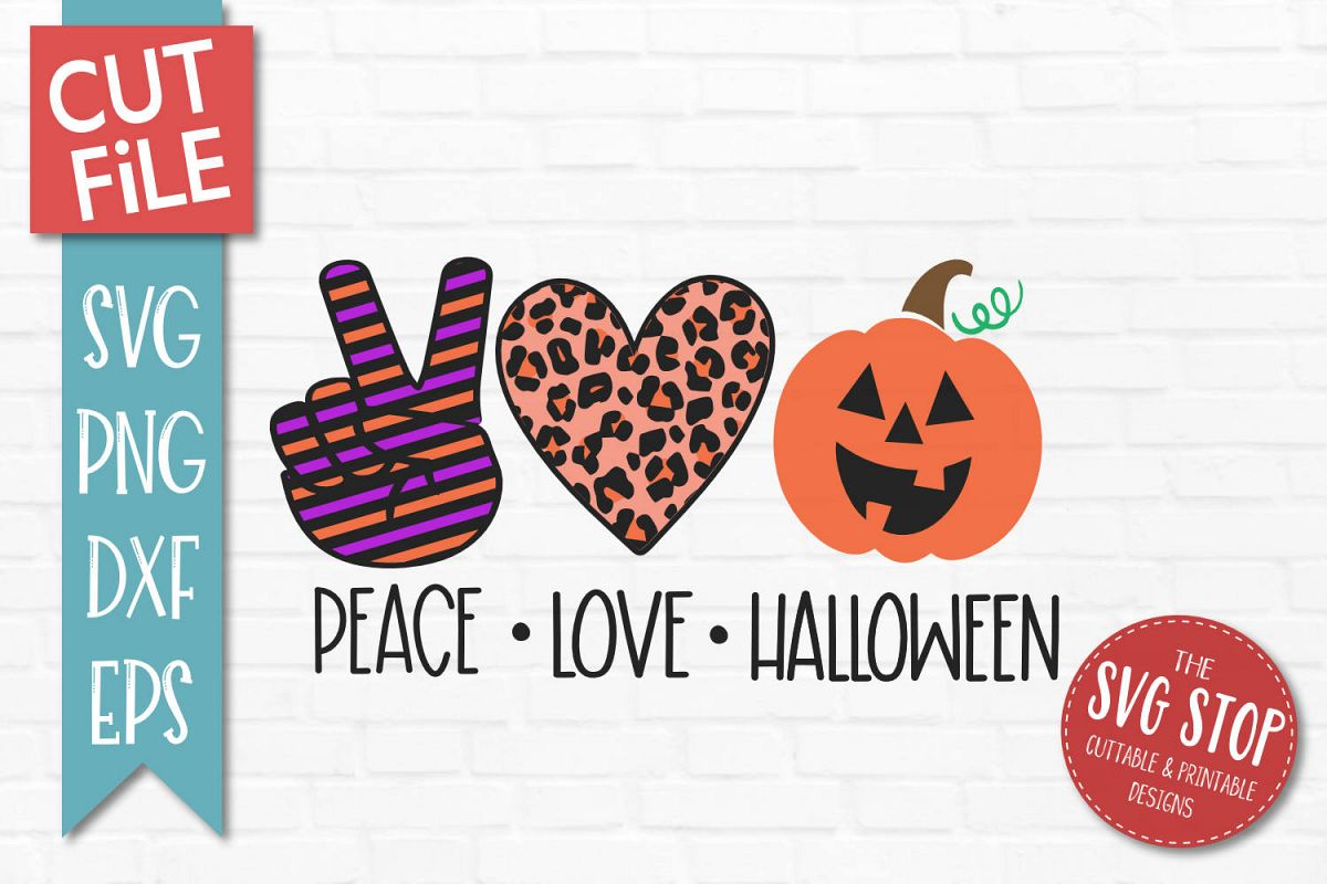 Peace Love Halloween SVG, PNG, DXF, EPS example image 1
