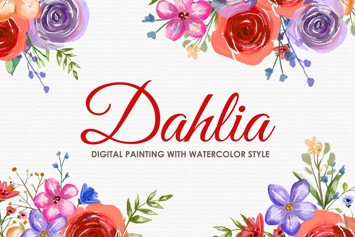 Dahlia - Digital Watercolor Floral Flower Style Clipart example image 1